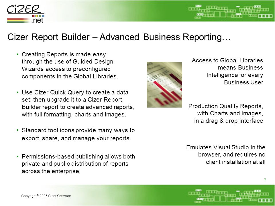 Cizer Report Builder – Advanced Business Reporting… Creating Reports is made easy through the use of Guided Design Wizards access to preconfigured components in the Global Libraries.