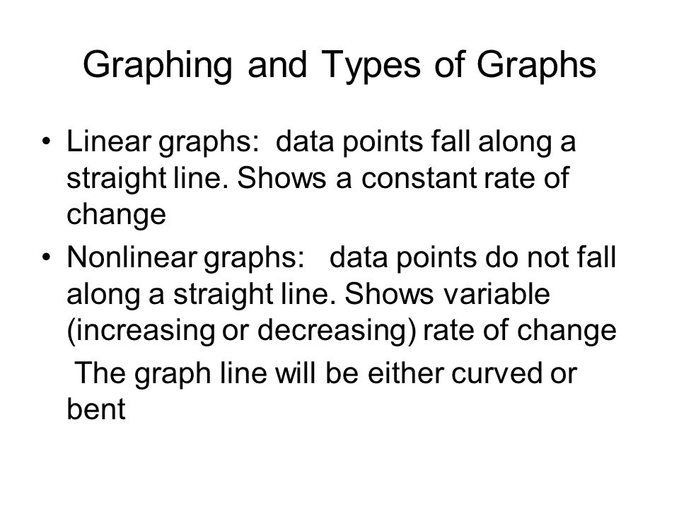 Graphing and Types of Graphs Linear graphs: data points fall along a straight line.