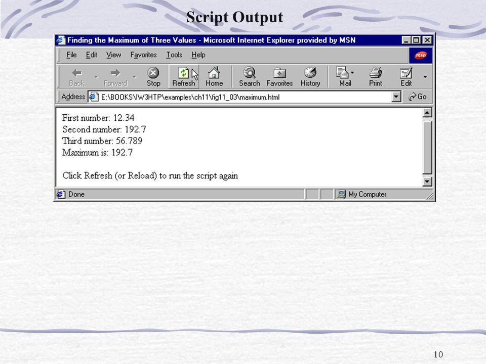 10 Script Output