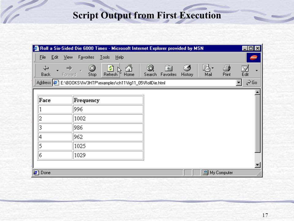 17 Script Output from First Execution
