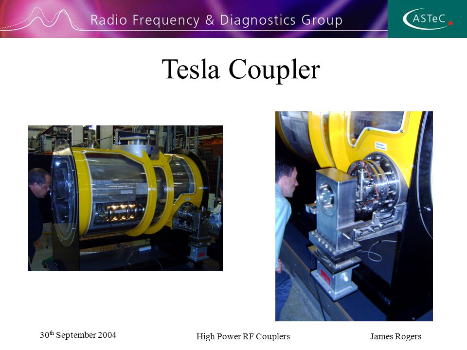 30 th September 2004 High Power RF Couplers James Rogers Tesla Coupler