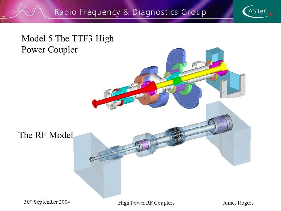 30 th September 2004 High Power RF Couplers James Rogers Model 5 The TTF3 High Power Coupler The RF Model
