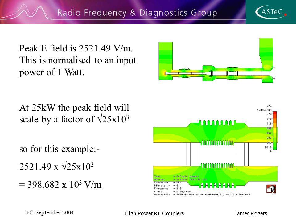 30 th September 2004 High Power RF Couplers James Rogers Peak E field is 2521.49 V/m.
