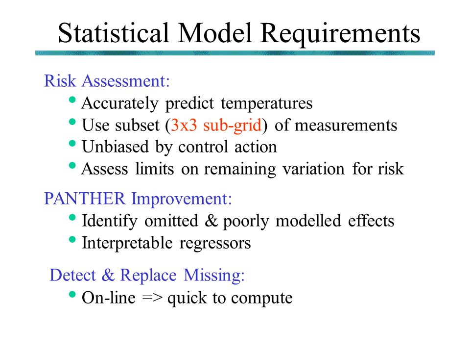 Statistical Model Requirements Risk Assessment: Accurately predict temperatures Use subset (3x3 sub-grid) of measurements Unbiased by control action A
