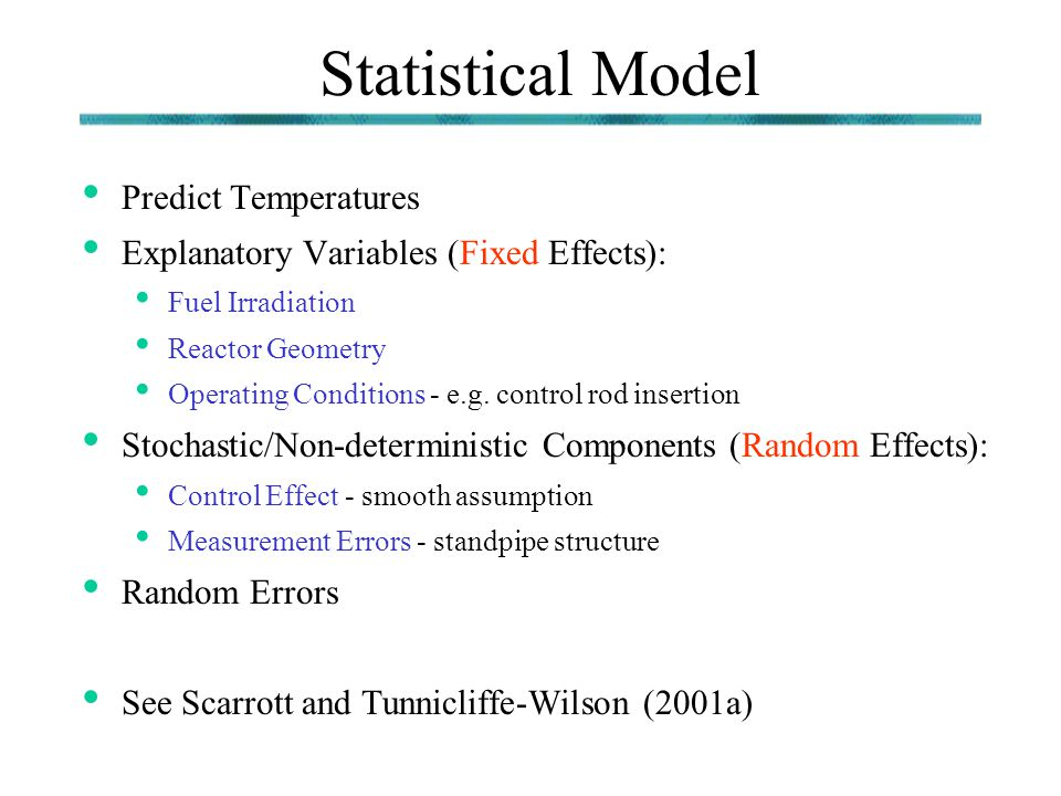 Statistical Model Predict Temperatures Explanatory Variables (Fixed Effects): Fuel Irradiation Reactor Geometry Operating Conditions - e.g. control ro
