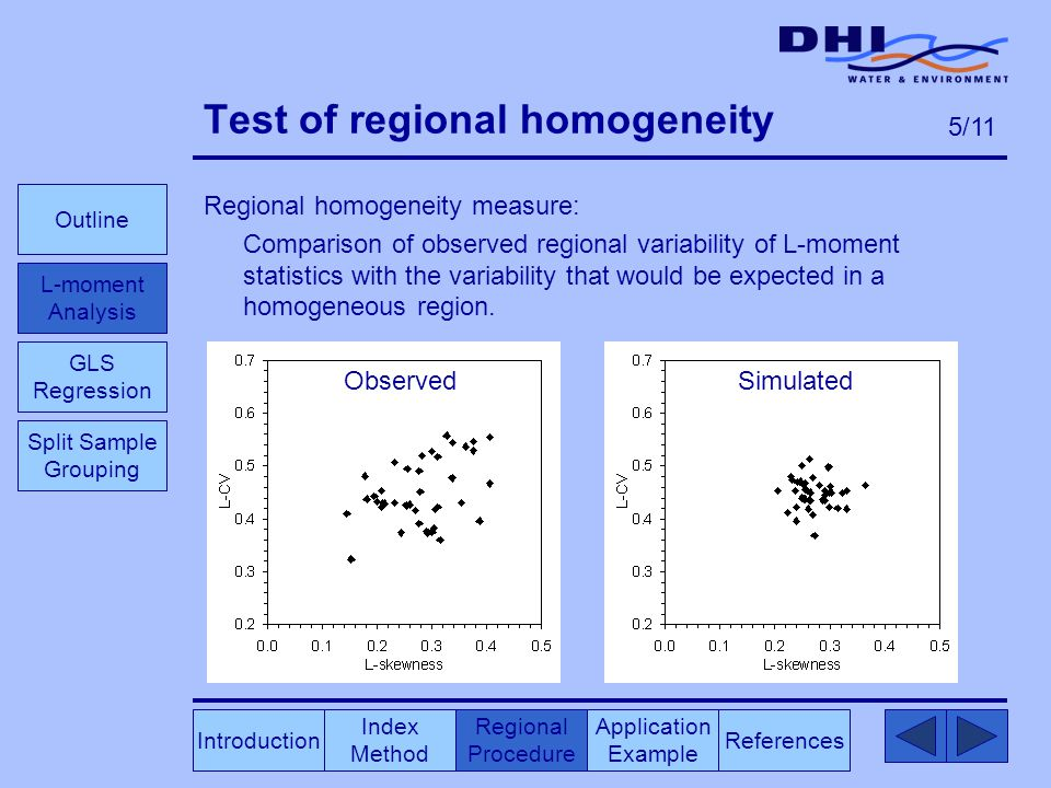 Test of regional homogeneity Regional homogeneity measure: Comparison of observed regional variability of L-moment statistics with the variability that would be expected in a homogeneous region.