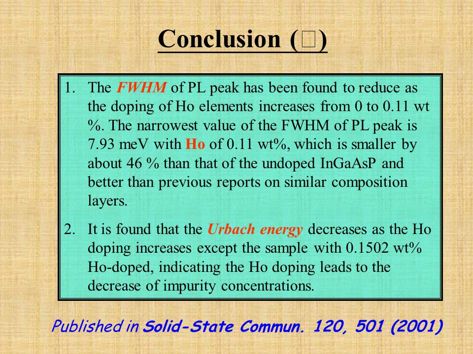 Conclusion ( Ⅰ ) 1.The FWHM of PL peak has been found to reduce as the doping of Ho elements increases from 0 to 0.11 wt %.