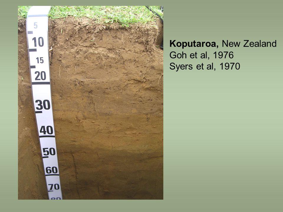 Koputaroa, New Zealand Goh et al, 1976 Syers et al, 1970