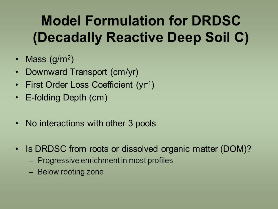 Model Formulation for DRDSC (Decadally Reactive Deep Soil C) Mass (g/m 2 ) Downward Transport (cm/yr) First Order Loss Coefficient (yr -1 ) E-folding