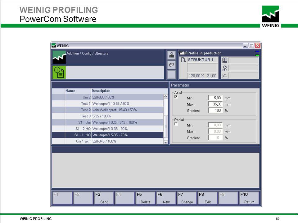 WEINIG PROFILING 10 WEINIG PROFILING PowerCom Software