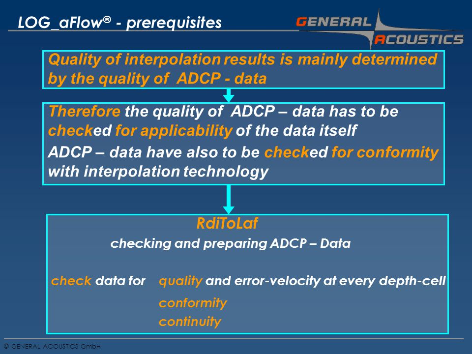 GENERAL ACOUSTICS GmbH © conformity quality and error-velocity at every depth-cell LOG_aFlow ® - prerequisites checking and preparing ADCP – Data check data for continuity Quality of interpolation results is mainly determined by the quality of ADCP - data Therefore the quality of ADCP – data has to be checked for applicability of the data itself ADCP – data have also to be checked for conformity with interpolation technology RdiToLaf