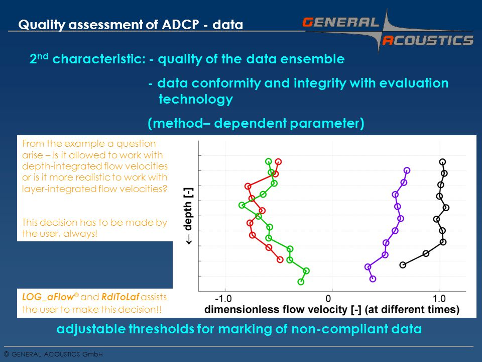 GENERAL ACOUSTICS GmbH © Quality assessment of ADCP - data 2 nd characteristic: - quality of the data ensemble - data conformity and integrity with evaluation technology (method– dependent parameter) adjustable thresholds for marking of non-compliant data From the example a question arise – Is it allowed to work with depth-integrated flow velocities or is it more realistic to work with layer-integrated flow velocities.