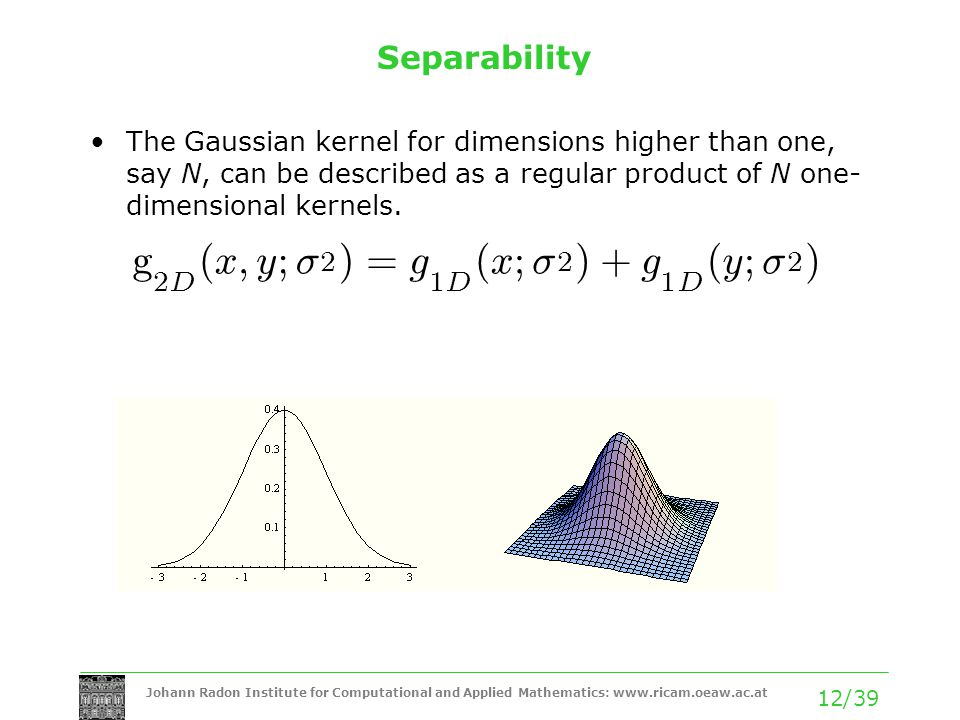 Johann Radon Institute for Computational and Applied Mathematics: www.ricam.oeaw.ac.at 12/39 Separability The Gaussian kernel for dimensions higher th