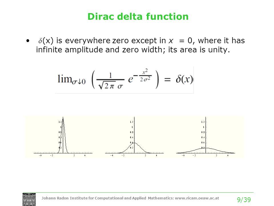 Johann Radon Institute for Computational and Applied Mathematics: www.ricam.oeaw.ac.at 9/39 Dirac delta function  (x) is everywhere zero except in x