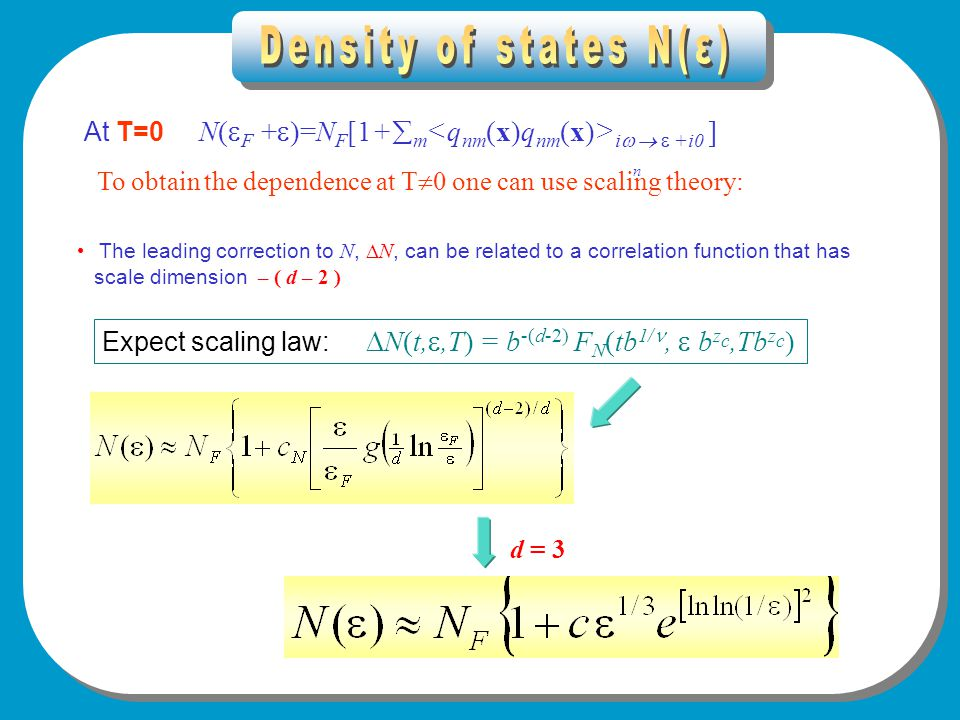 Density of states At T=0 N(  F +  )=N F [1+  m i    +i0 ] To obtain the dependence at T  0 one can use scaling theory: The leading correction to N,  N, can be related to a correlation function that has scale dimension – ( d – 2 ) Expect scaling law:  N(t, ,T) = b -(d-2) F N (tb 1/,  b z c,Tb z c ) d = 3 n