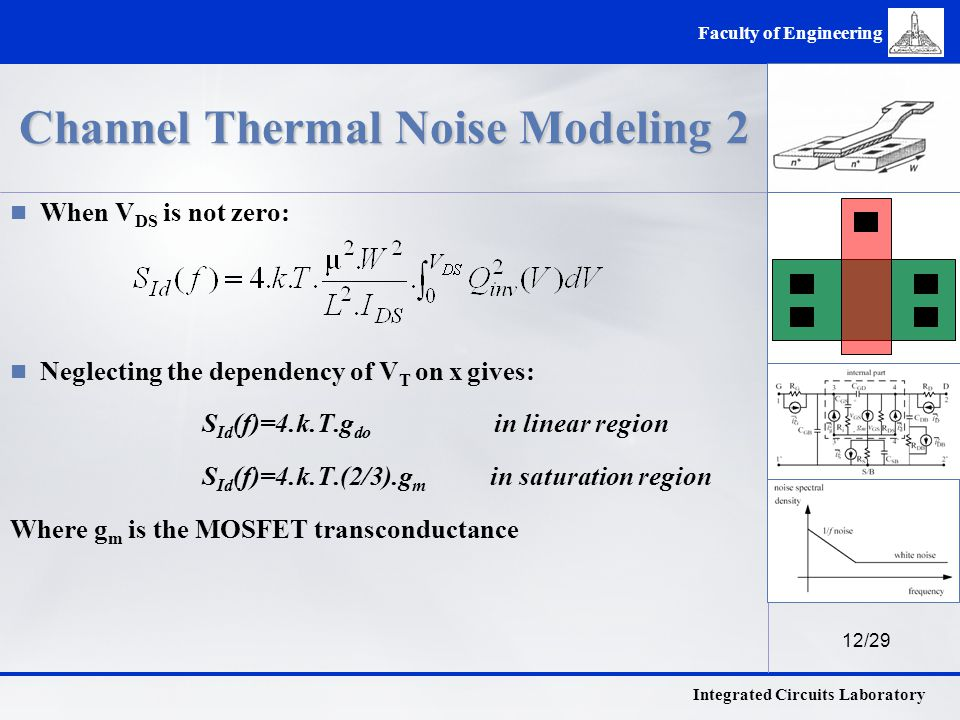 12/29 Integrated Circuits Laboratory Faculty of Engineering Channel Thermal Noise Modeling 2 When V DS is not zero: Neglecting the dependency of V T on x gives: S Id (f)=4.k.T.g do in linear region S Id (f)=4.k.T.(2/3).g m in saturation region Where g m is the MOSFET transconductance