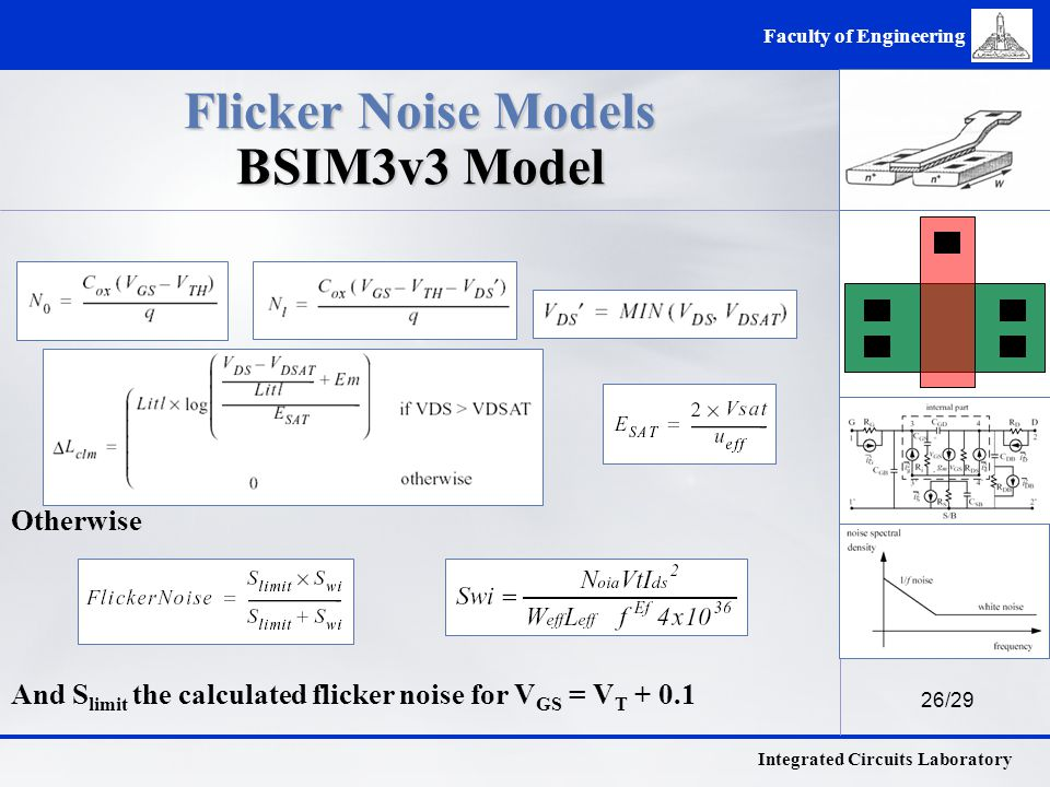 26/29 Integrated Circuits Laboratory Faculty of Engineering Flicker Noise Models BSIM3v3 Model Otherwise And S limit the calculated flicker noise for V GS = V T + 0.1