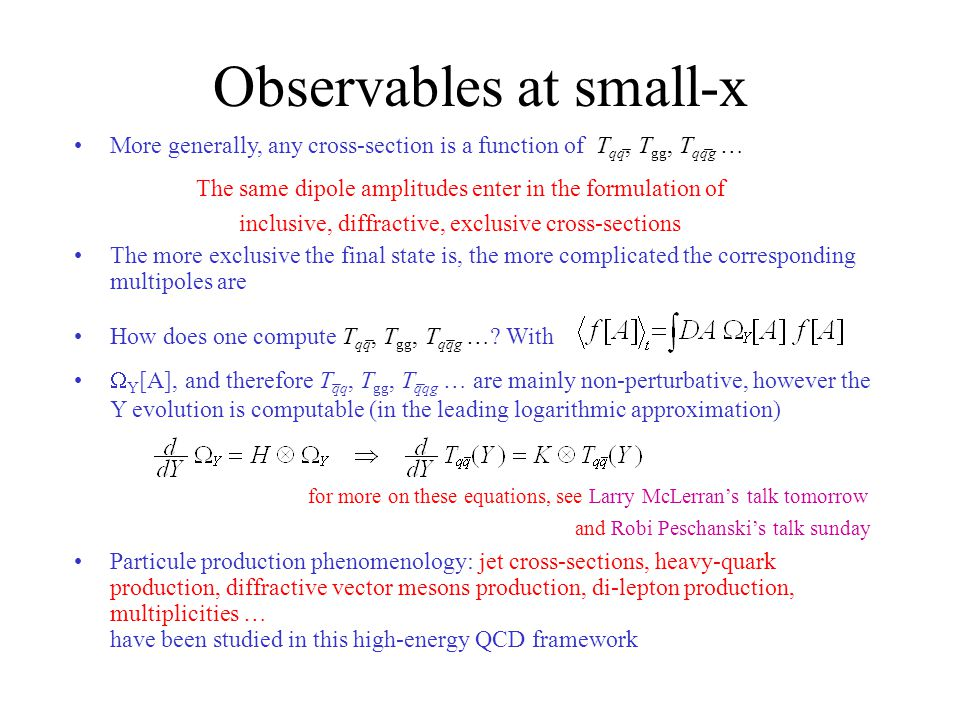 Observables at small-x Particule production phenomenology: jet cross-sections, heavy-quark production, diffractive vector mesons production, di-lepton production, multiplicities … have been studied in this high-energy QCD framework The same dipole amplitudes enter in the formulation of inclusive, diffractive, exclusive cross-sections  Y [A], and therefore T qq, T gg, T qqg … are mainly non-perturbative, however the Y evolution is computable (in the leading logarithmic approximation) for more on these equations, see Larry McLerran's talk tomorrow and Robi Peschanski's talk sunday More generally, any cross-section is a function of T qq, T gg, T qqg … The more exclusive the final state is, the more complicated the corresponding multipoles are How does one compute T qq, T gg, T qqg ….