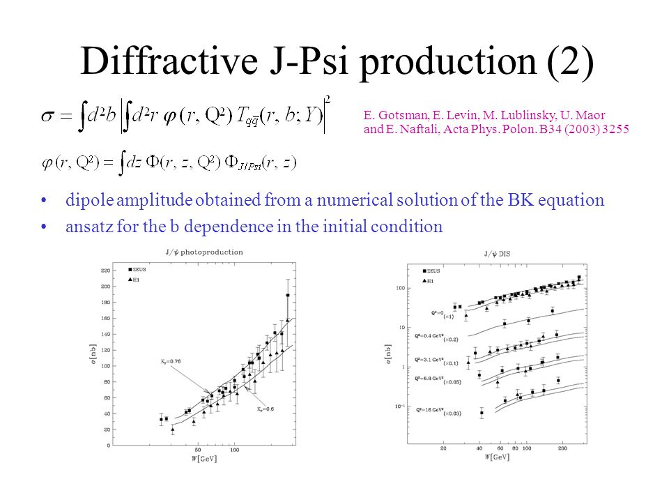 Diffractive J-Psi production (2) E. Gotsman, E. Levin, M.