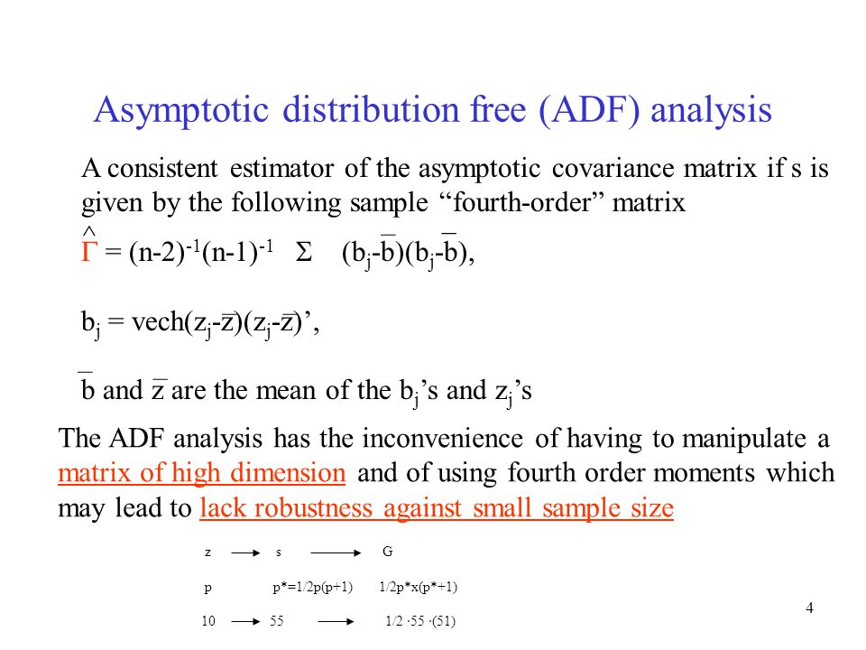 "4 Asymptotic distribution free (ADF) analysis A consistent estimator of the asymptotic covariance matrix if s is given by the following sample ""fourth"