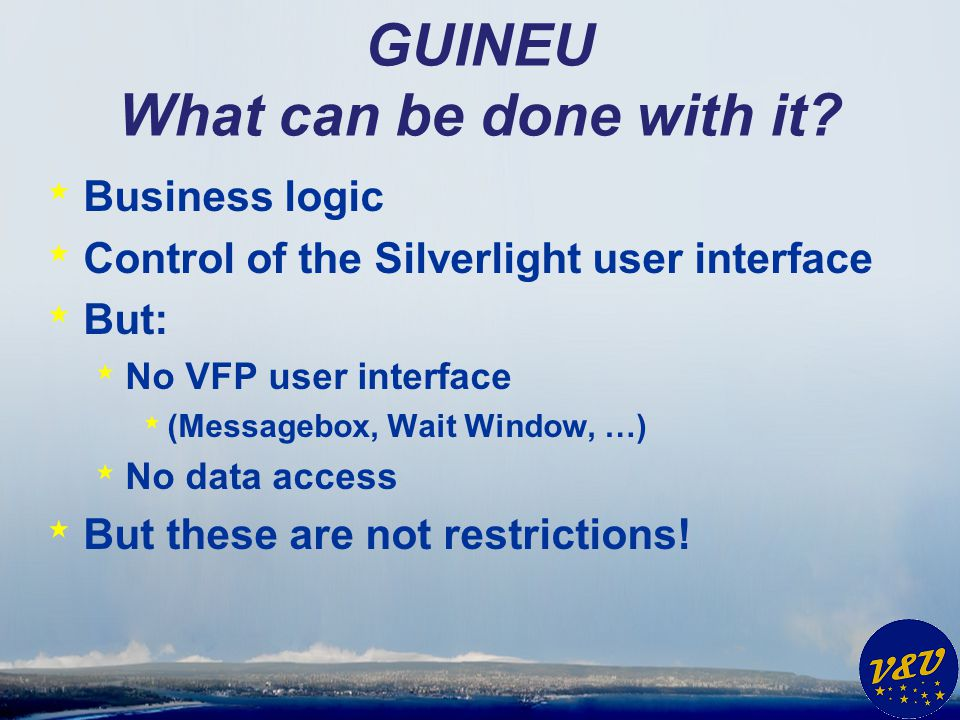 GUINEU Integration in Silverswitch * Wrapper-project * VfxGuineuRuntime * FXP file * Save in folder VFPCode * Build: embedded resource * PRG file (to edit with VFP) * Open with VFP as default * Build: none
