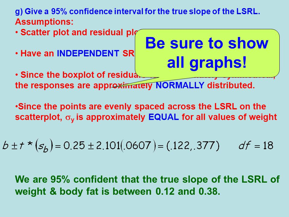 g) Give a 95% confidence interval for the true slope of the LSRL.