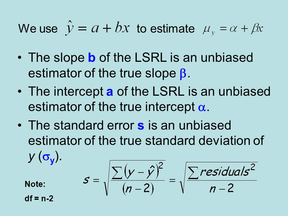 The slope b of the LSRL is an unbiased estimator of the true slope .