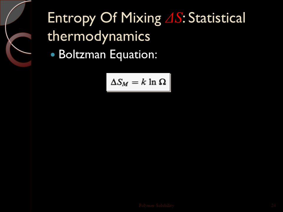 Thermodynamics of mixing Polymer Solubility23