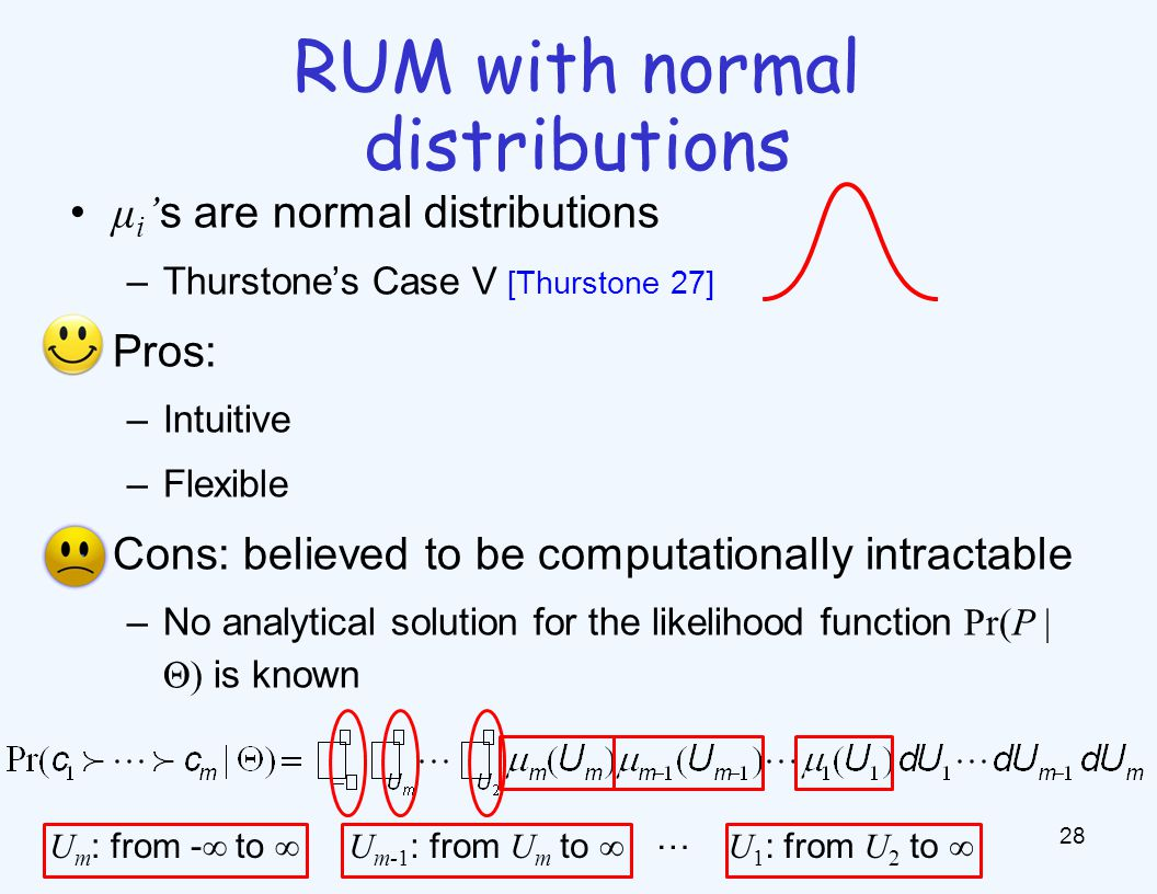 μ i ' s are normal distributions –Thurstone's Case V [Thurstone 27] Pros: –Intuitive –Flexible Cons: believed to be computationally intractable –No analytical solution for the likelihood function Pr(P | Θ) is known 28 RUM with normal distributions U m : from - ∞ to ∞U m-1 : from U m to ∞ … U 1 : from U 2 to ∞