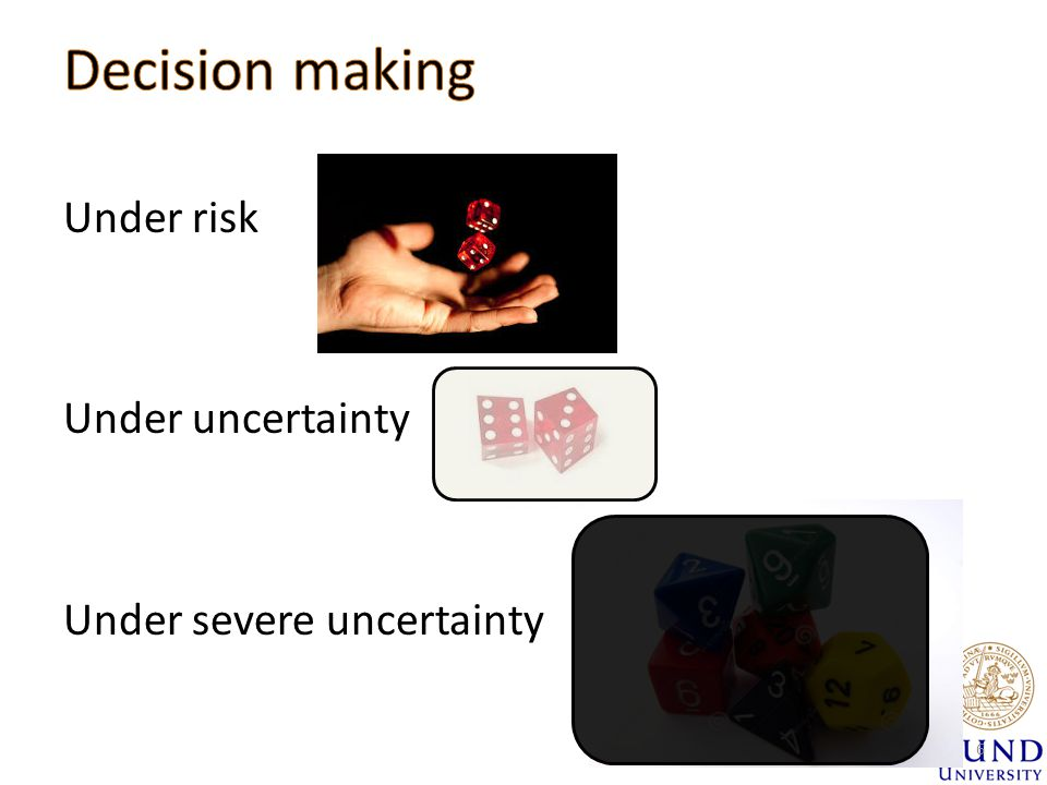 Under risk Under uncertainty Under severe uncertainty 6