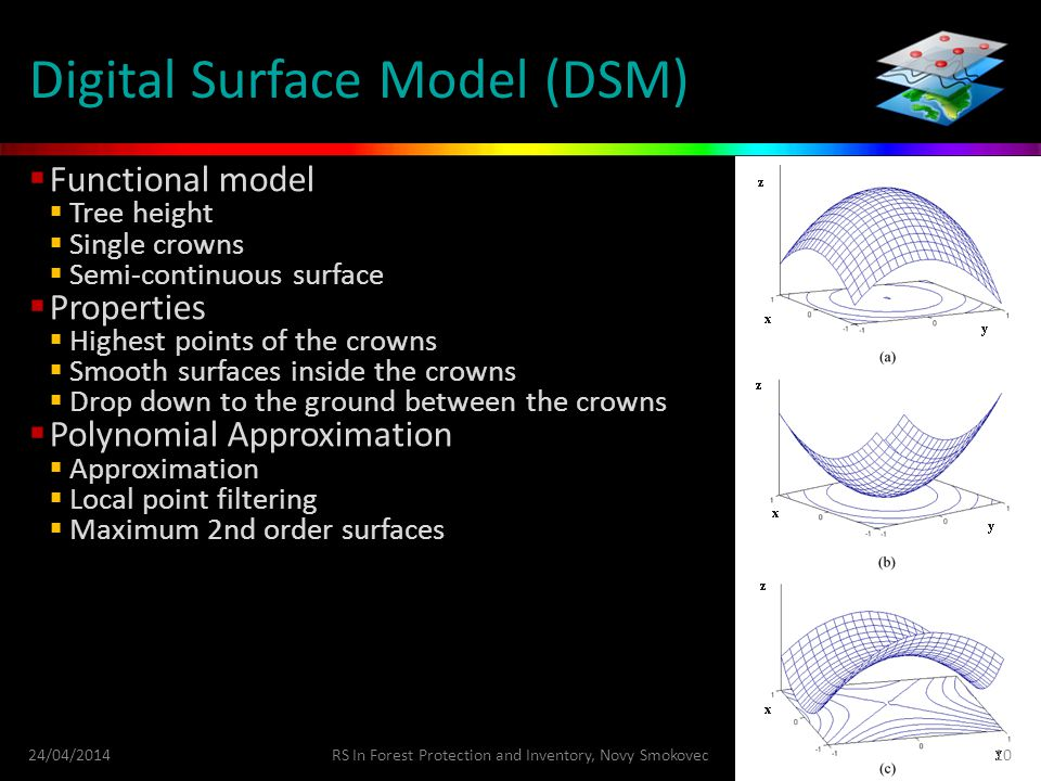 Digital Surface Model (DSM)  Functional model  Tree height  Single crowns  Semi-continuous surface  Properties  Highest points of the crowns  Smooth surfaces inside the crowns  Drop down to the ground between the crowns  Polynomial Approximation  Approximation  Local point filtering  Maximum 2nd order surfaces 24/04/2014RS In Forest Protection and Inventory, Novy Smokovec10