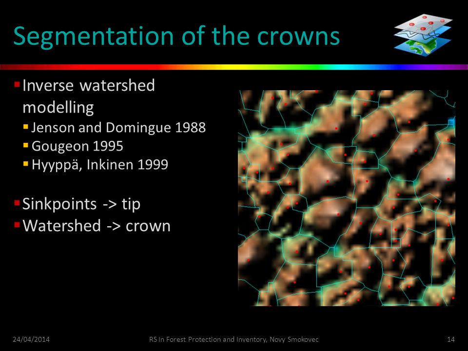 Segmentation of the crowns  Inverse watershed modelling  Jenson and Domingue 1988  Gougeon 1995  Hyyppä, Inkinen 1999  Sinkpoints -> tip  Watershed -> crown 24/04/2014RS In Forest Protection and Inventory, Novy Smokovec14