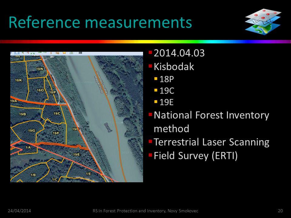 Reference measurements  2014.04.03  Kisbodak  18P  19C  19E  National Forest Inventory method  Terrestrial Laser Scanning  Field Survey (ERTI)
