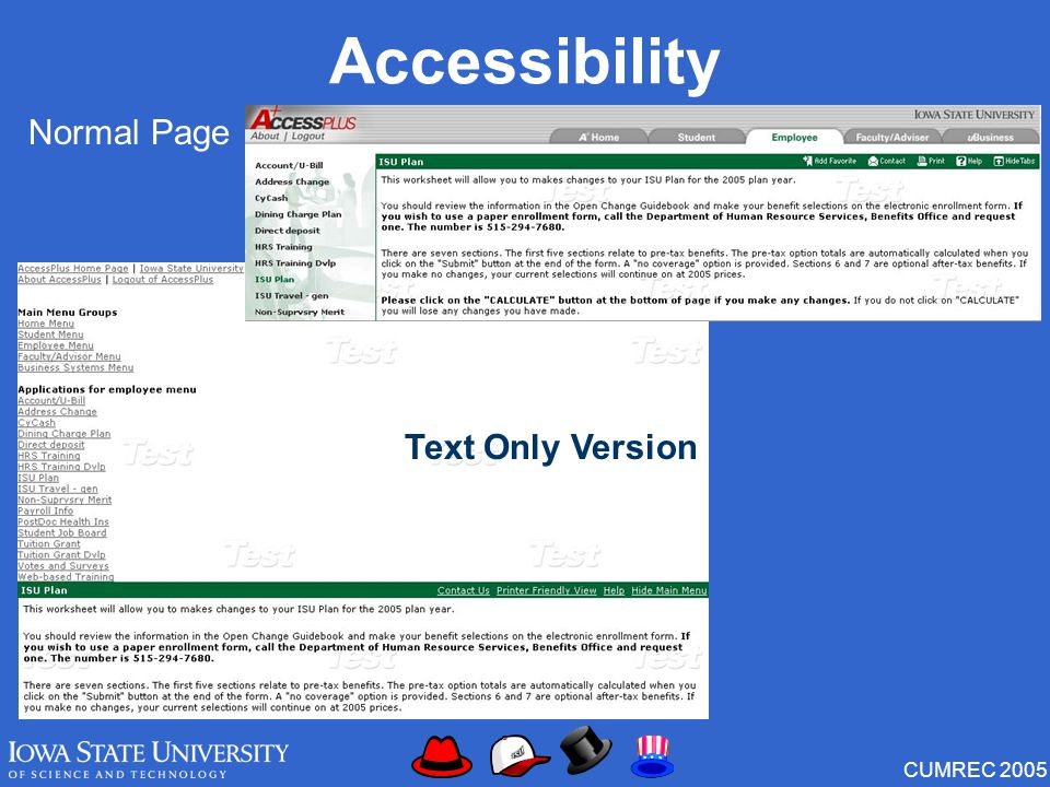 CUMREC 2005 Accessibility Normal Page Text Only Version