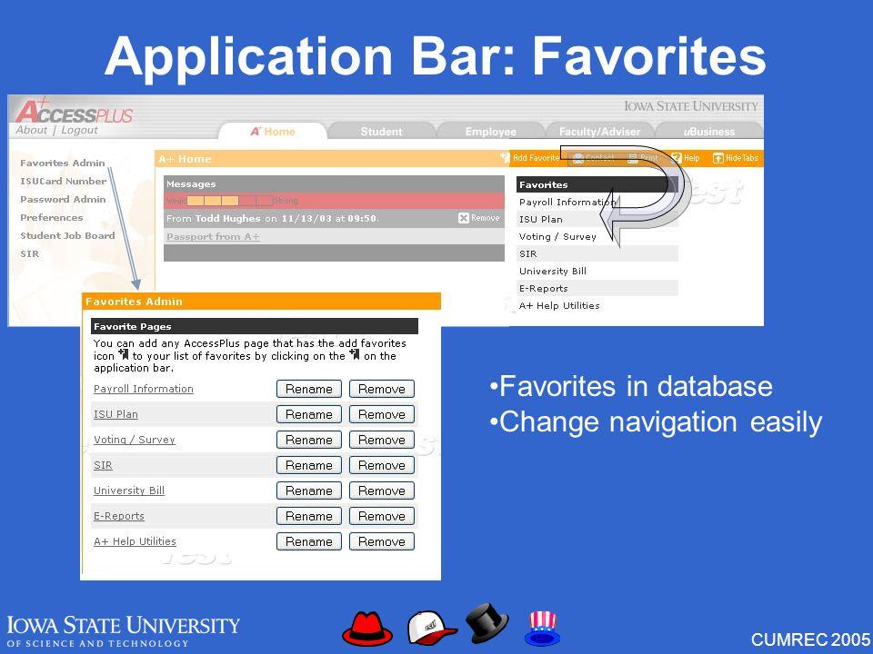 CUMREC 2005 Application Bar: Favorites Favorites in database Change navigation easily