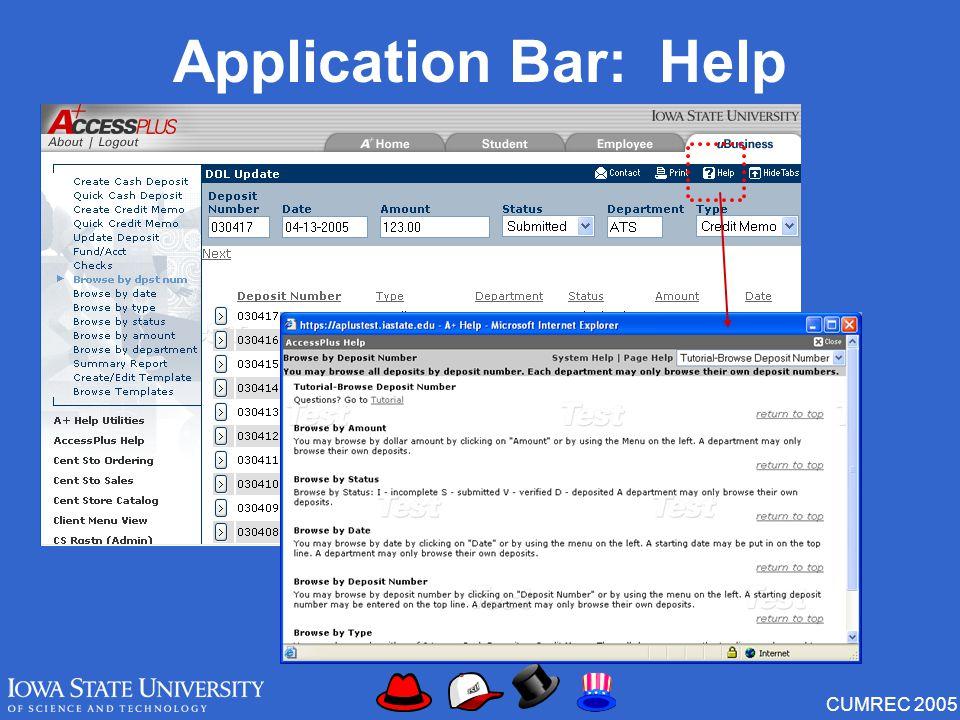 CUMREC 2005 Application Bar: Help