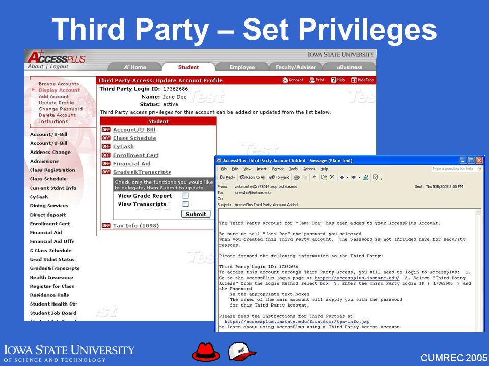 CUMREC 2005 Third Party – Set Privileges