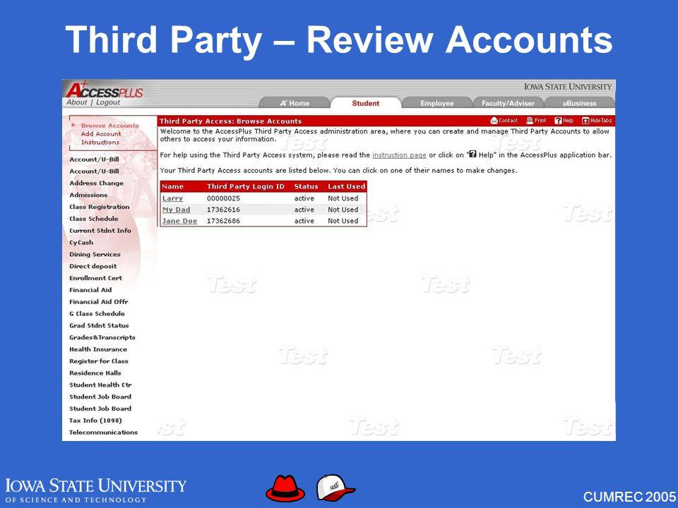CUMREC 2005 Third Party – Review Accounts