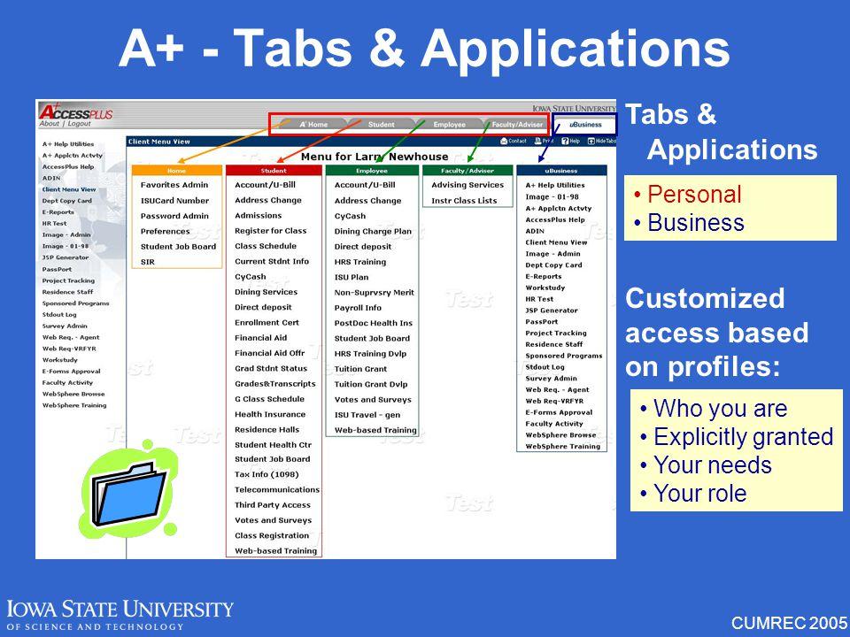 CUMREC 2005 AccessPlus Home Page Menu Functions Preferences Messages AccessPlus Application Toolbar