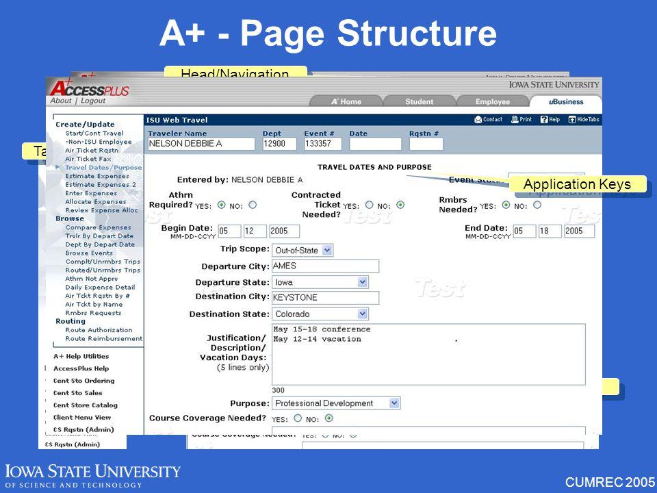 CUMREC 2005 Preferences Display menu item description (hover) Text only Name view Login method