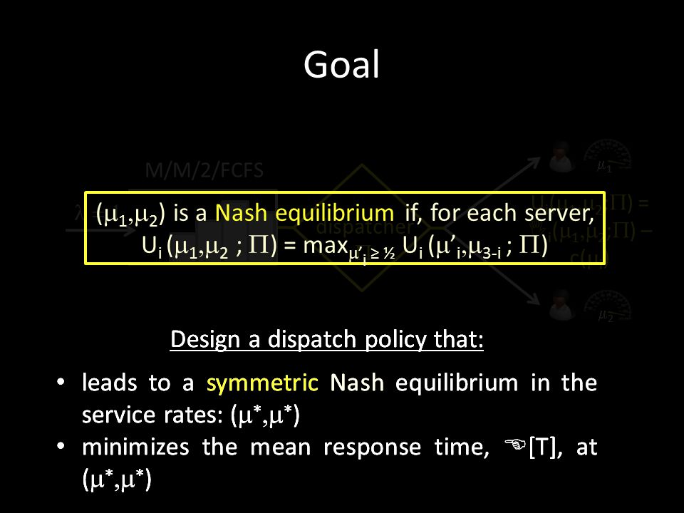 Goal U i (  1  2 ;  ) = I i (  1  2 ;  ) – c(  i ) Design a dispatch policy that: leads to a symmetric Nash equilibrium in the service rates: