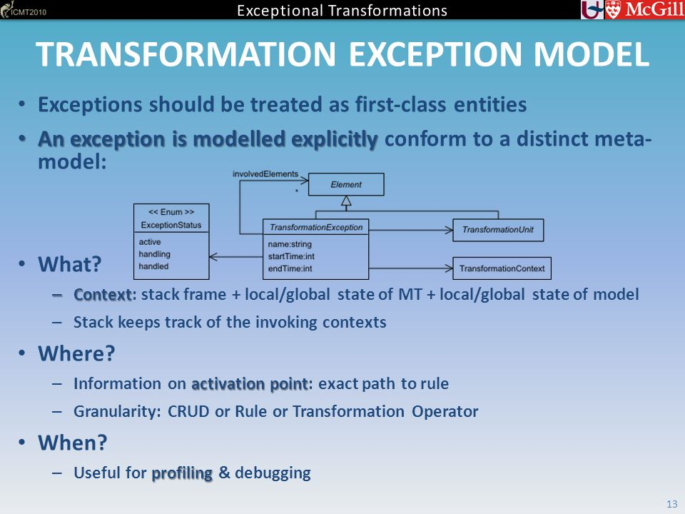 TRANSFORMATION EXCEPTION MODEL Exceptions should be treated as first-class entities An exception is modelled explicitly An exception is modelled explicitly conform to a distinct meta- model: What.