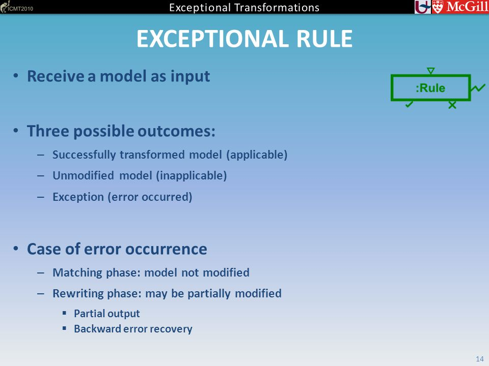 EXCEPTIONAL RULE 14 Receive a model as input Three possible outcomes: – Successfully transformed model (applicable) – Unmodified model (inapplicable) – Exception (error occurred) Case of error occurrence – Matching phase: model not modified – Rewriting phase: may be partially modified  Partial output  Backward error recovery