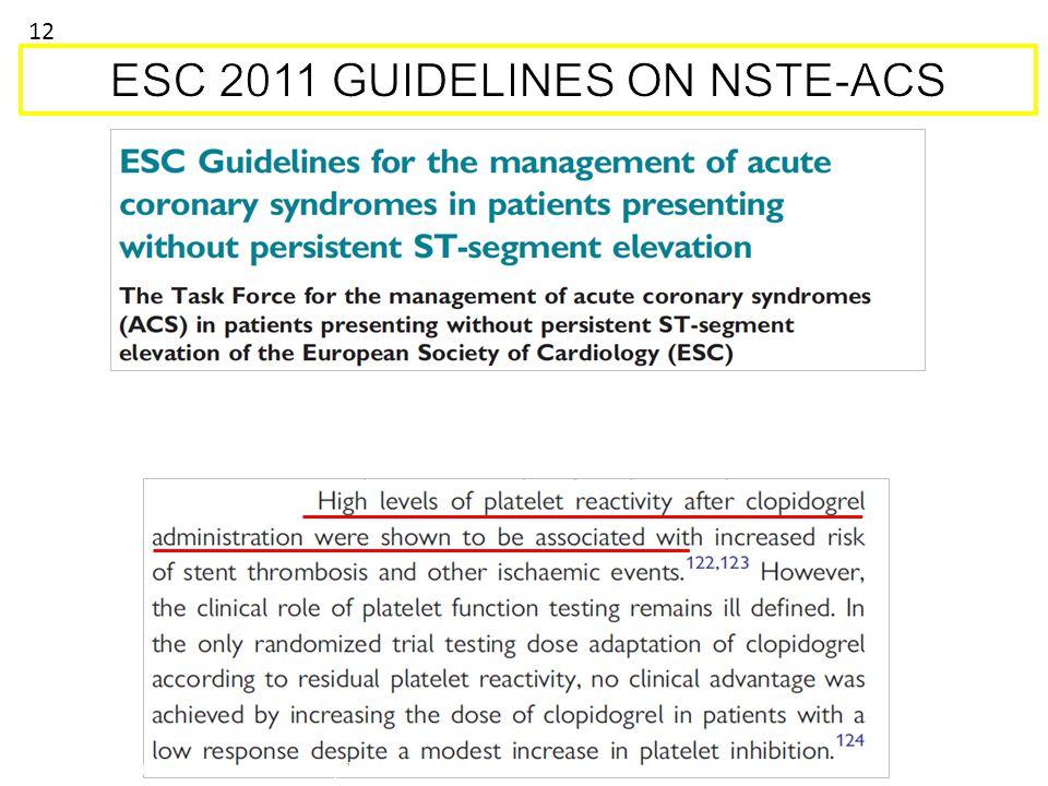 Hamm CW et al. Eur Heart J. 2011; 2999-3054. 12
