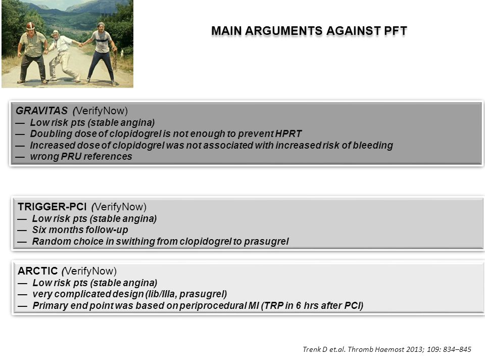 MAIN ARGUMENTS AGAINST PFT GRAVITAS (VerifyNow) —Low risk pts (stable angina) —Doubling dose of clopidogrel is not enough to prevent HPRT —Increased dose of clopidogrel was not associated with increased risk of bleeding —wrong PRU references GRAVITAS (VerifyNow) —Low risk pts (stable angina) —Doubling dose of clopidogrel is not enough to prevent HPRT —Increased dose of clopidogrel was not associated with increased risk of bleeding —wrong PRU references TRIGGER-PCI (VerifyNow) —Low risk pts (stable angina) —Six months follow-up —Random choice in swithing from clopidogrel to prasugrel TRIGGER-PCI (VerifyNow) —Low risk pts (stable angina) —Six months follow-up —Random choice in swithing from clopidogrel to prasugrel ARCTIC (VerifyNow) —Low risk pts (stable angina) —very complicated design (Iib/IIIa, prasugrel) —Primary end point was based on periprocedural MI (TRP in 6 hrs after PCI) ARCTIC (VerifyNow) —Low risk pts (stable angina) —very complicated design (Iib/IIIa, prasugrel) —Primary end point was based on periprocedural MI (TRP in 6 hrs after PCI) Trenk D et.al.
