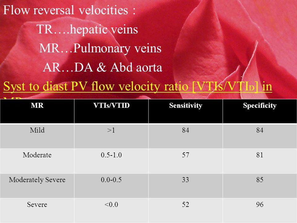 Flow reversal velocities : TR….hepatic veins MR…Pulmonary veins AR…DA & Abd aorta Syst to diast PV flow velocity ratio [VTIs/VTI D ] in MR MRVTIs/VTIDSensitivitySpecificity Mild>184 Moderate0.5-1.05781 Moderately Severe0.0-0.53385 Severe<0.05296