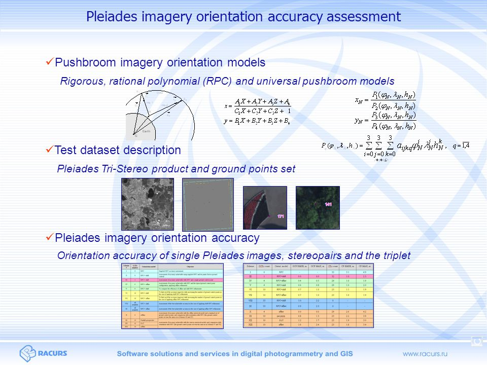 Pushbroom imagery orientation models Pushbroom imagery orientation models RigorousUniversalReplacement