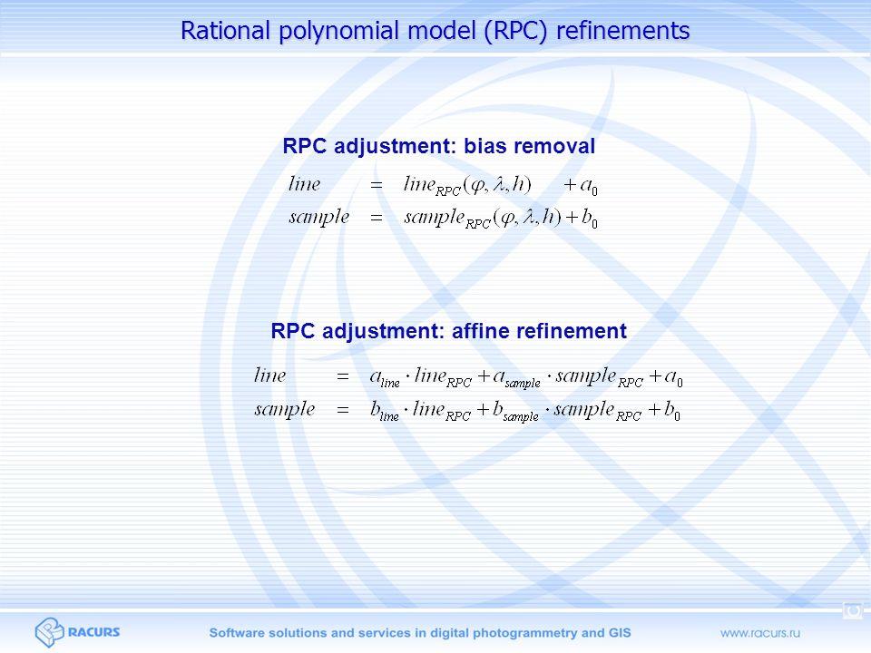 Universal pushbroom models Parallel-perspective model Direct Linear Transformation (DLT) Affine model