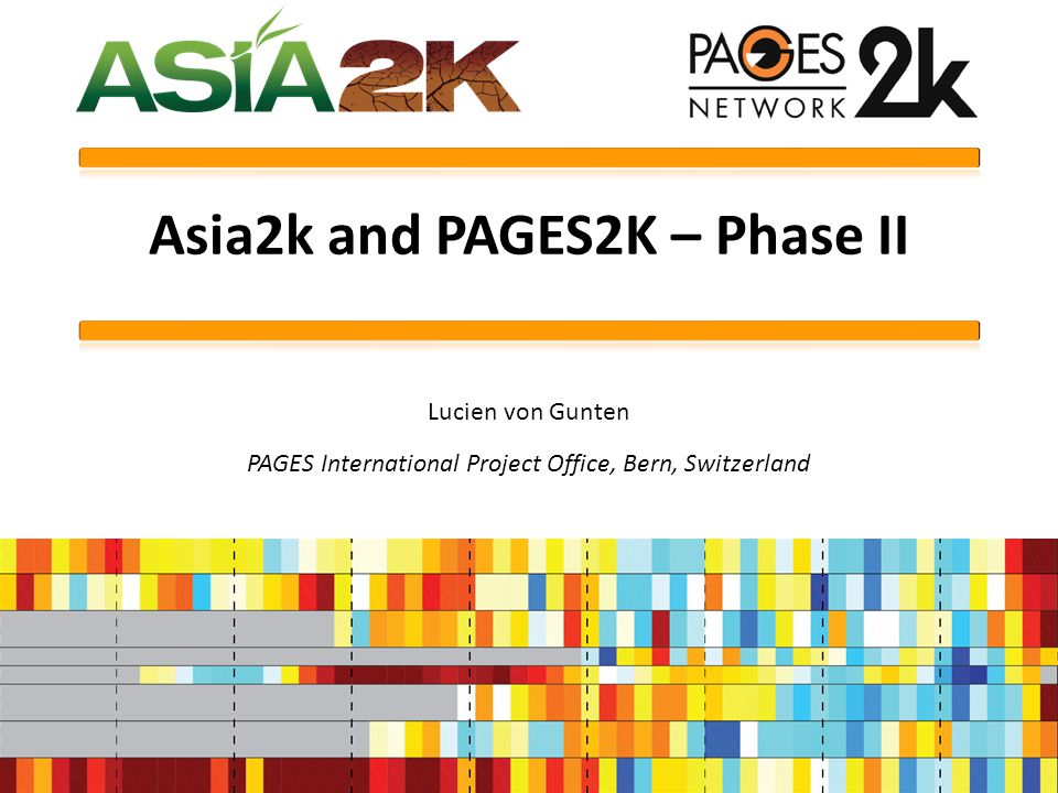 Asia2k and PAGES2K – Phase II Lucien von Gunten PAGES International Project Office, Bern, Switzerland