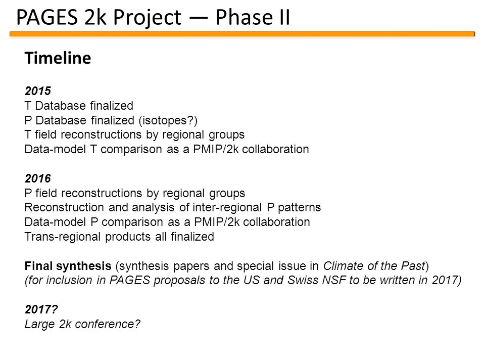 PAGES 2k Project — Phase II Timeline 2015 T Database finalized P Database finalized (isotopes?) T field reconstructions by regional groups Data-model T comparison as a PMIP/2k collaboration 2016 P field reconstructions by regional groups Reconstruction and analysis of inter-regional P patterns Data-model P comparison as a PMIP/2k collaboration Trans-regional products all finalized Final synthesis (synthesis papers and special issue in Climate of the Past) (for inclusion in PAGES proposals to the US and Swiss NSF to be written in 2017) 2017.
